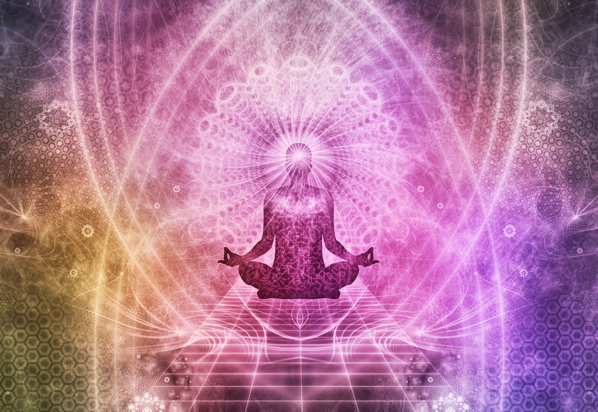 figure meditating lotus position and geometric light patterns