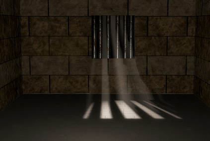 prison cell and window bars with beams of sunlight