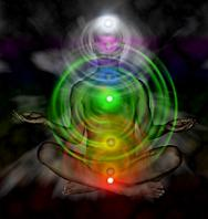 image of human chakra energy fields in body