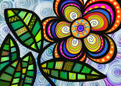 folk art flower - multi colored stained glass